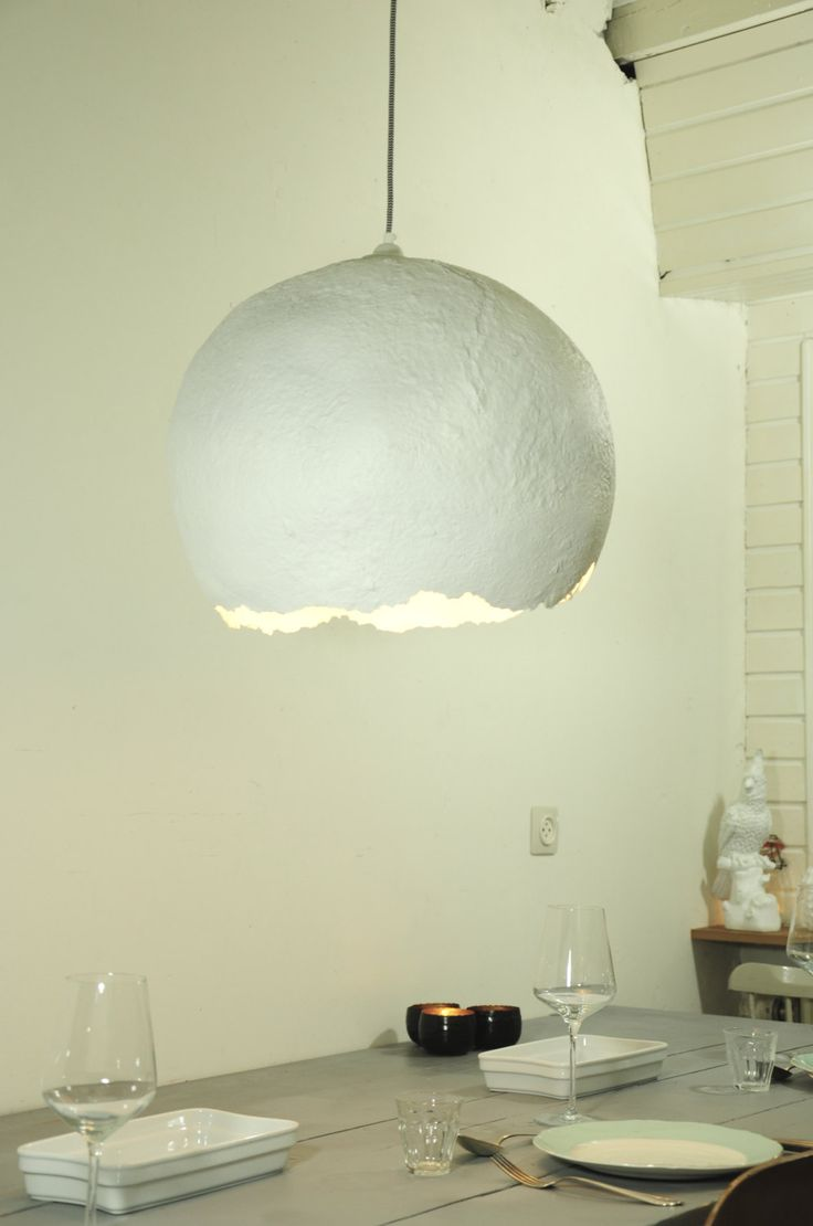 """Paper mache lamp - hanging lamp - industrial pendant lamp - eco friendly - paper pulp  lamp - recycled lamp - christmas gift - """"glacier"""" by RoughHandsTheHague on Etsy"""