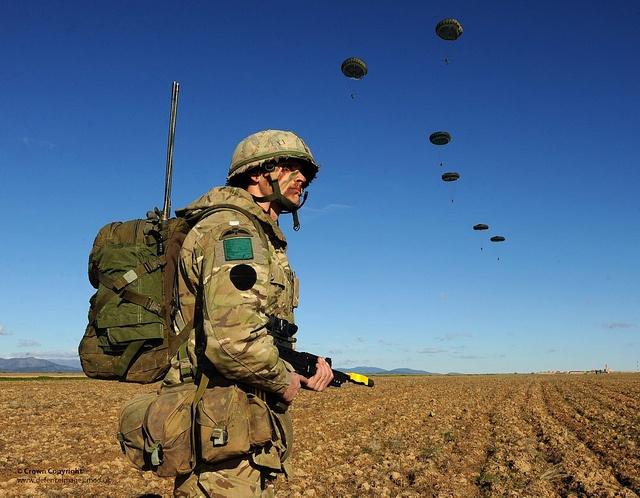 A Paratrooper with 3 PARA is pictured during a training exercise in Spain.