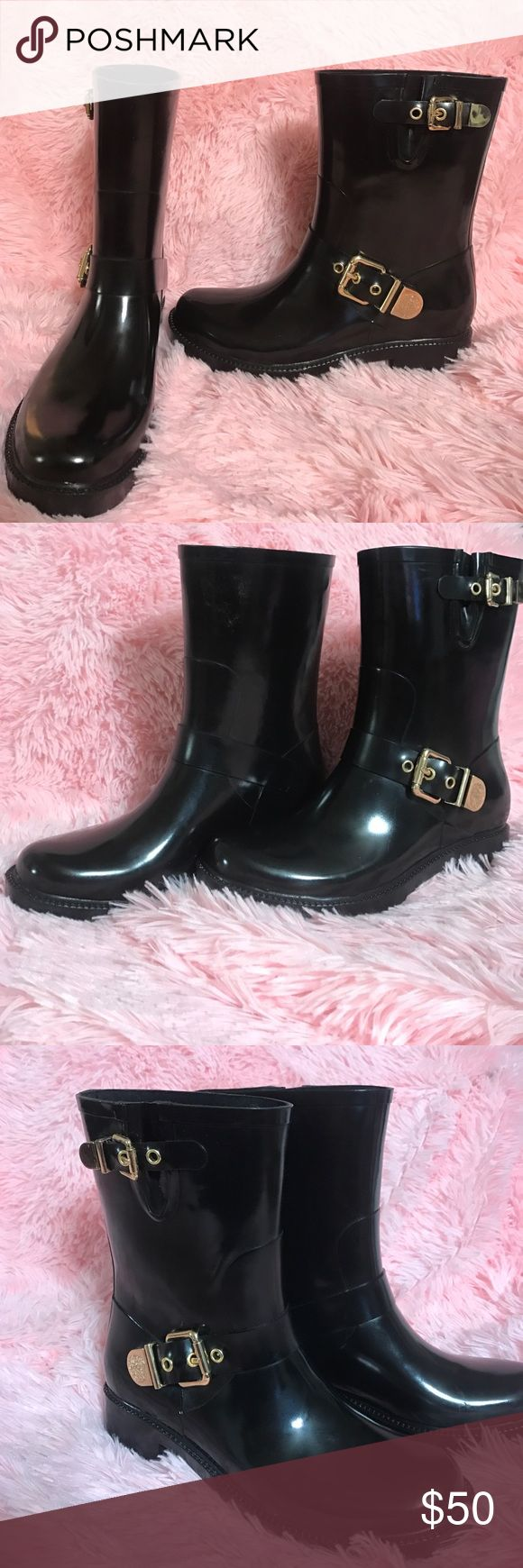 Vince camuto black rain boots Like new excellent to use in snow ❄️ or rain with gold buckles 1.5inches heel Vince Camuto Shoes Winter & Rain Boots