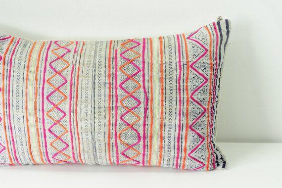 "Boho Bohemian Rare VINTAGE HMONG Textile Batik Patch Work Embroidered Ethnic Textile Striped Pink & Blue Navy Nautical Pillow Case 12"" x 20"""