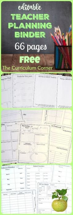 FREE Editable Teacher Planning Binder - 66 editable pages from The Curriculum…