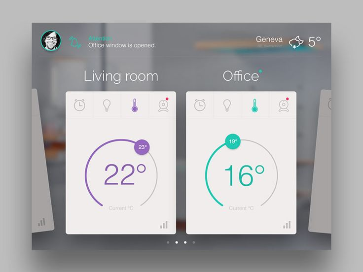 Had a chance to work on multiplatform SmartHome UI for the Swiss company. The early sketch-proposal.