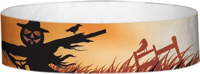 """""""Spooky Scarecrow"""" Tyvek® 3/4"""" Pattern Wristbands perfect for Halloween parties or any other special event. www.medtechgroup.com #Halloween #Wristband #Bats #Events #Admission #Ticket"""