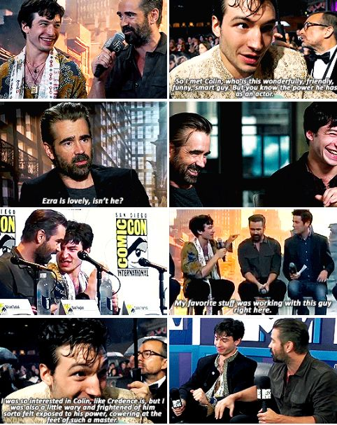 """Fantastic Beasts cast - Ezra Miller and Colin Farell - """"The thing about Colin that I feel compelled to talk about is his intelligence because it's really, really staggering. I'm deeply impressed by that man's brain. When we do interviews together, I usually stay quiet and try to look pretty."""""""