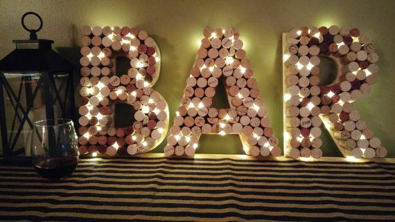 Wine Cork Bar Sign 12 Letters Pre-Lit by TheEliteBoutique on Etsy
