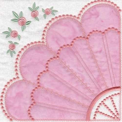 Skeldale house ith applique quilt blocks fan