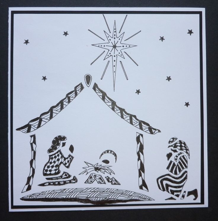 'Nativity Scene'  card.  Outline drawn using an Imagination Craft's stencil, then  some patterns tangled  inside the outline, using a black fine liner pen.   June 2014.   Designed by Jennifer Johnston.