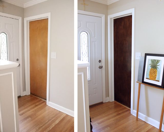 How to use Minwax Gel Stain to upgrade your interior wooden doors #DIY #homeimprovement | crab+fish