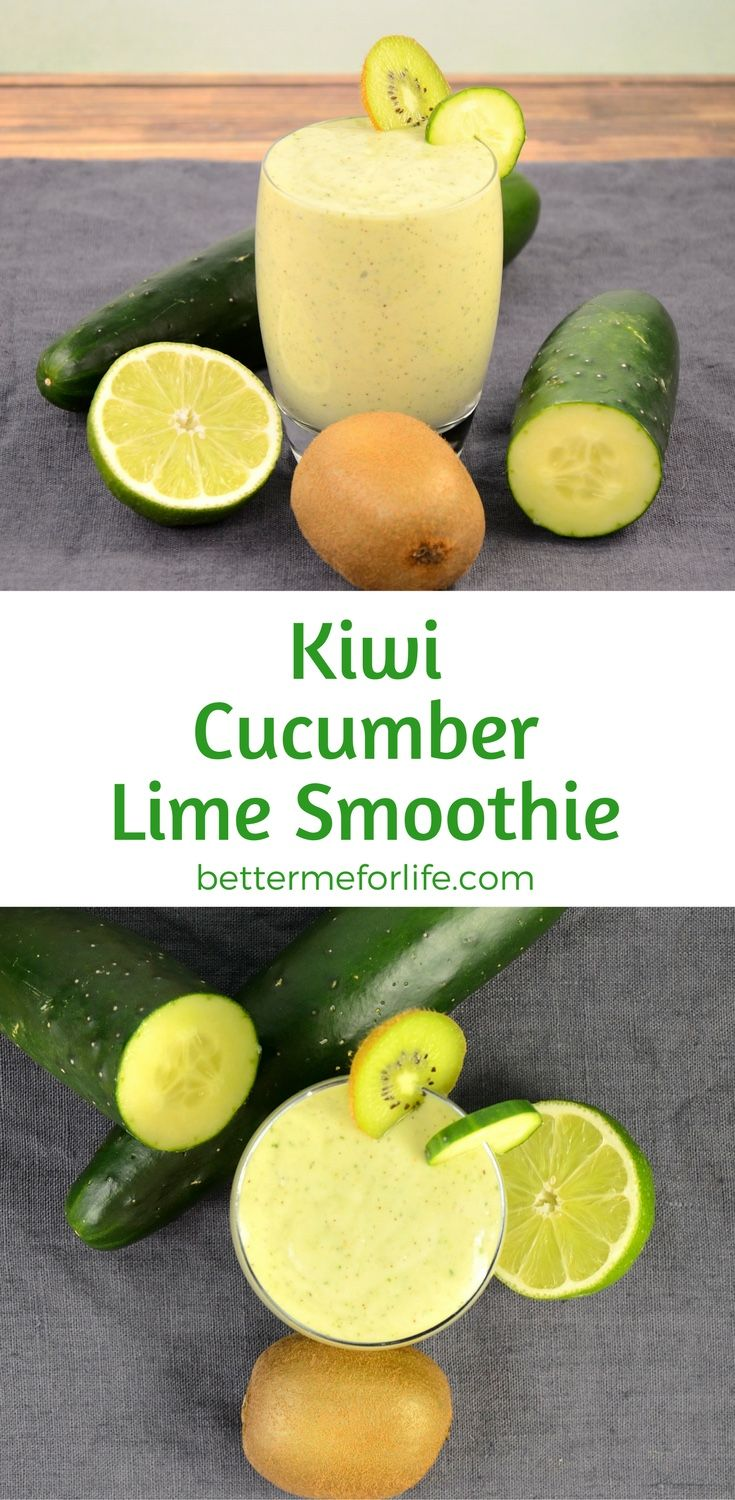 This cool and refreshing kiwi cucumber lime smoothie will keep you full for a long time. It's packed with fiber and protein to keep you feeling satisfied. Find the recipe on BetterMeforLife.com