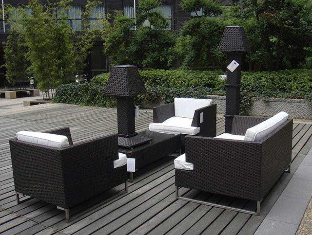 Furnitures : Stunning Black Wicker Patio Furniture White Cushions Above  Large Wood Floor In Outdoor Around The Plants In Backyard Have Two Wicker  Lamps How ...