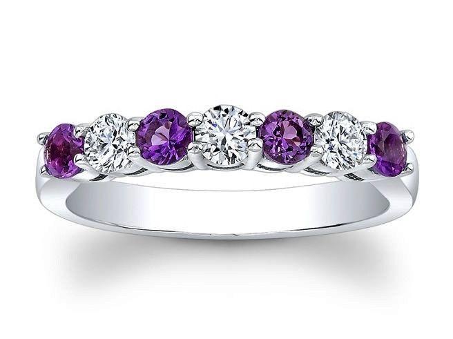 amethyst wedding ring sets | ... Round Diamonds & Amethyst Wedding Band 0.6 tcw. In 14K White Gold
