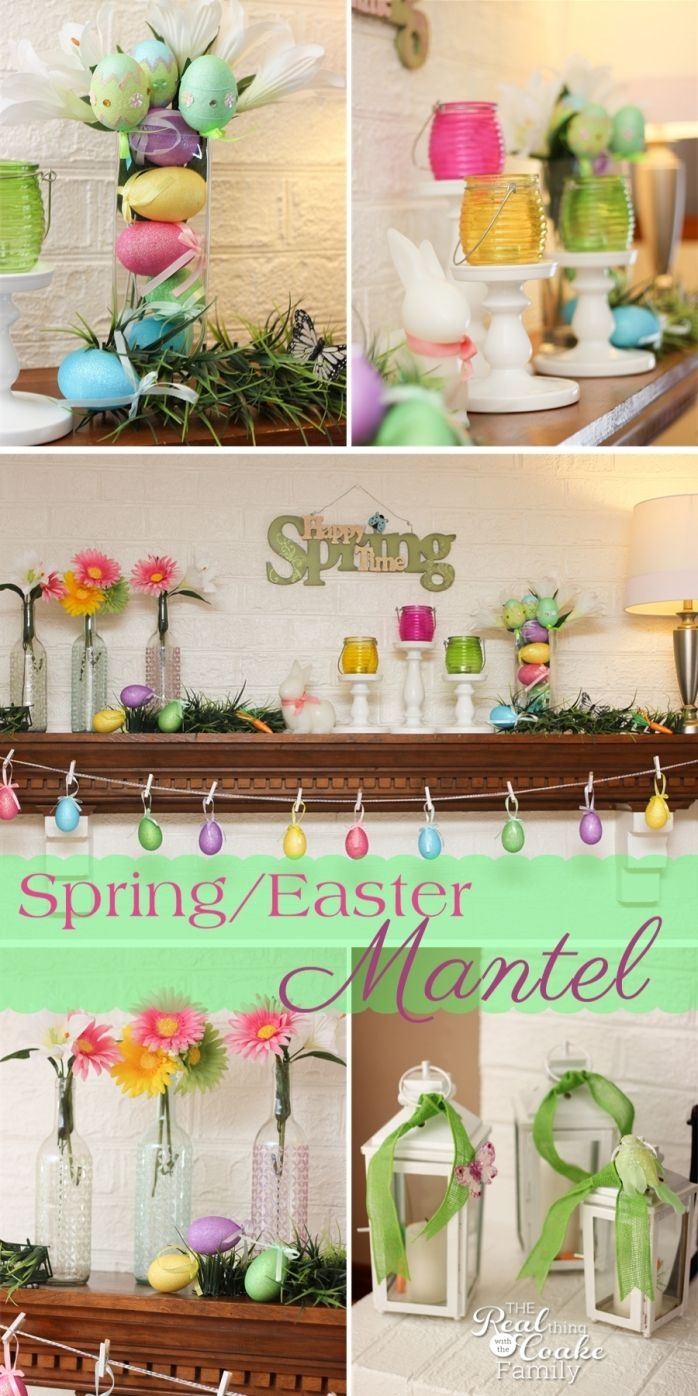 Great Ideas home decor in the living room. Create a cheery, colorful, and pretty spring/ Easter Mantel.