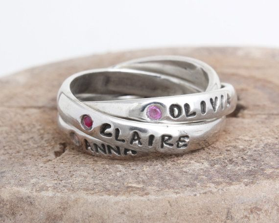 Birthstone Ring with Names on Each Band. Gift for Mom of Three. Personalized Intertwined Band Rolling Ring in Sterling Silver  Every time you look at this ring on your finger you will think of the joy in your life. The three interconnecting bands will hold the names and birthstones of three of the most special people in your life. Or create a family ring with you, your spouse, a child or date. Your imagination can have no boundaries. The bands move around on your finger when worn, so the…