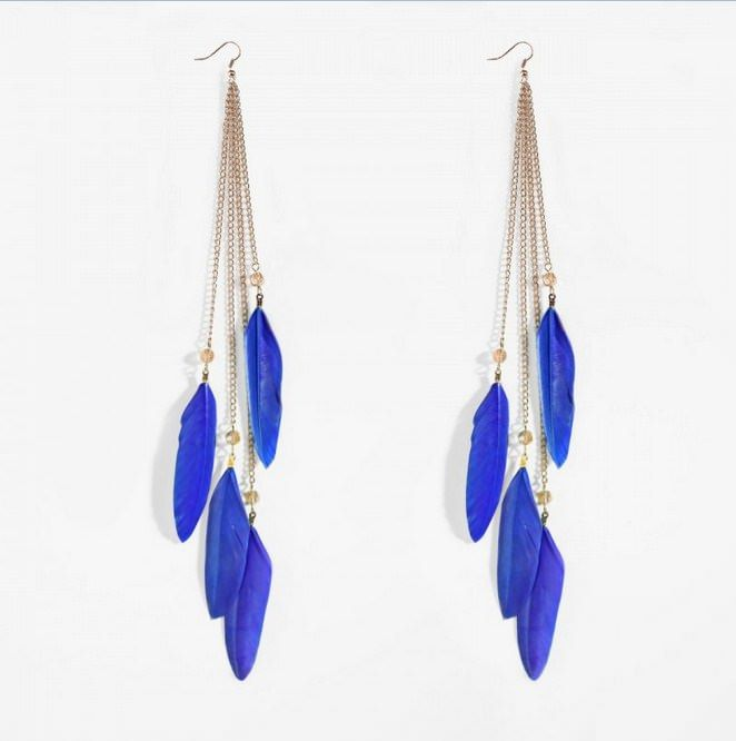 feather earrings blue picture