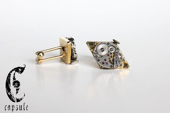 50.00$ Vintage Golden Diamond Shape Steampunk Cufflinks with Antique Watch Movement  https://www.etsy.com/ca/listing/190341251