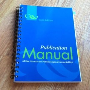 A must have. APA Manual spiral bound 6th edition