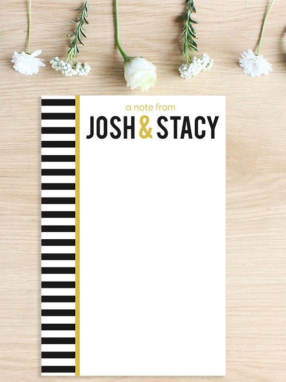 50 Sheet Striped Personalized Notepad   Personalized Gift