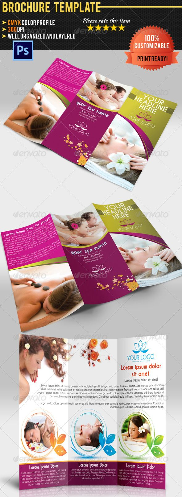 Spa Center TriFold Brochure #GraphicRiver Professional and clean