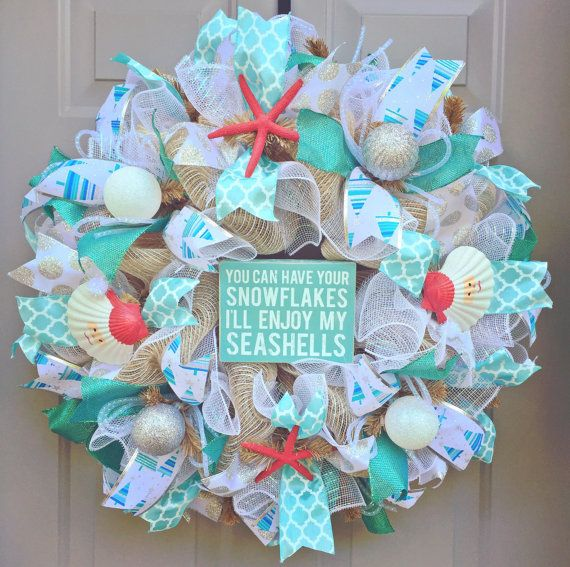 You Can Have Your Snowflakes Ill Enjoy My Seashells Burlap Deco Mesh Wreath, Seashell Wreath, Beach Wreath, Coastal Christmas  ***Christmas tree ribbon is now out of stock and will be replaced with something similar. Please message for other options. This wreath measures approximately 24x24x7 and will be shipped in a large box to keep it from getting damaged - however it will probably need some floofing (very technical word) once it reaches its final destination (just fluff out the mesh and…