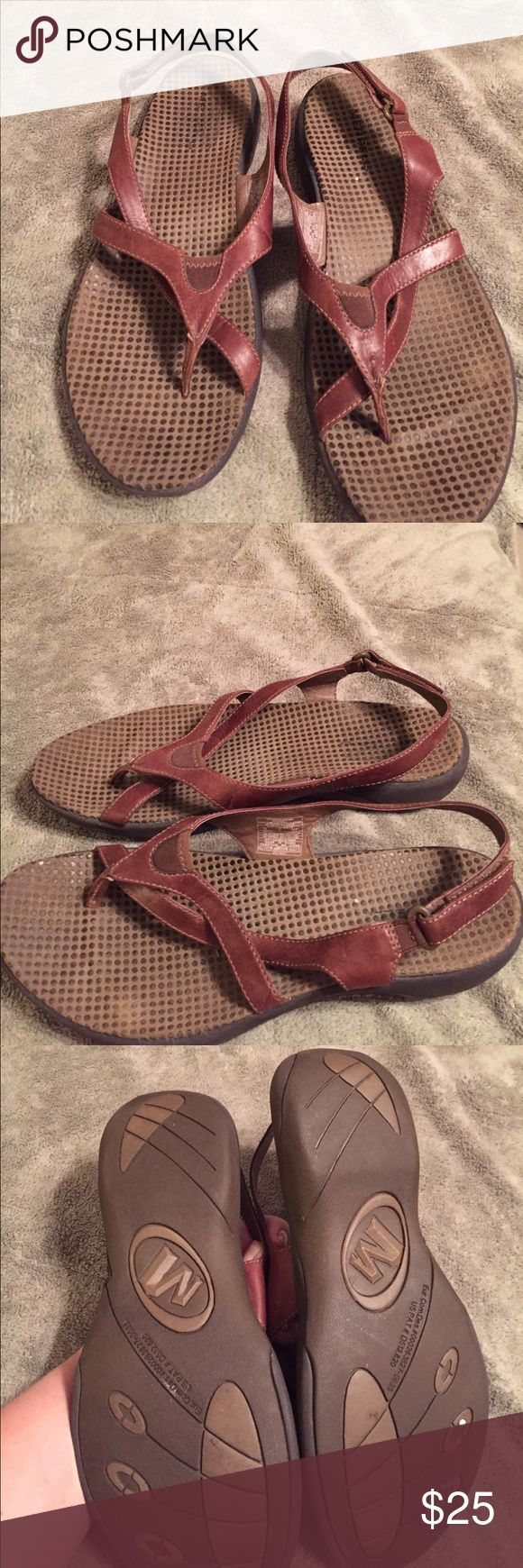 Merrell brown leather sandals Velcro straps brown leather sandals Merrell Shoes Sandals