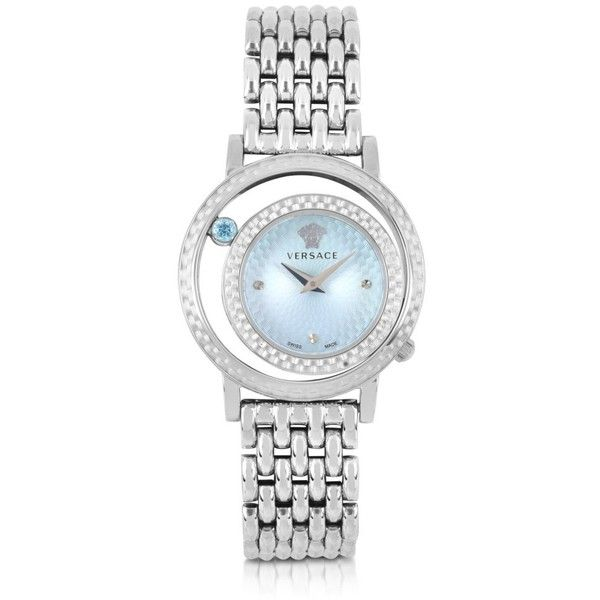 Versace Designer Women's Watches Venus Stainless Steel w/Light Blue... (394.320 HUF) ❤ liked on Polyvore featuring jewelry, watches, accessories, bracelets, silver, women's watches, versace jewellery, bezel watches, light blue jewelry and versace watches