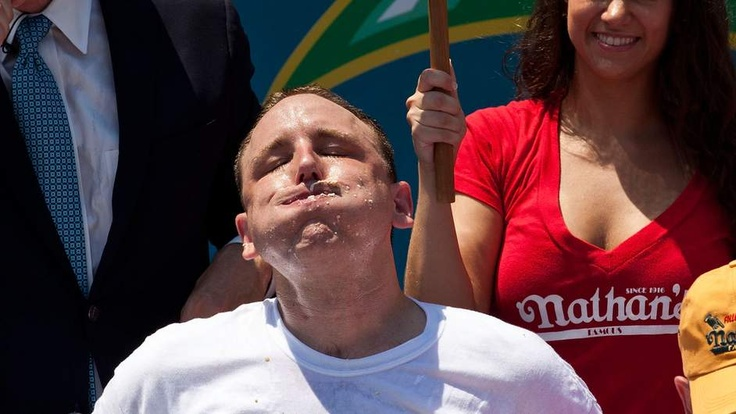 2012 Fourth of July hot dog eating contest winner Joey Chestnut