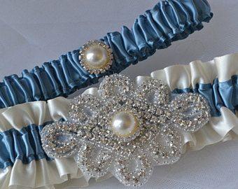 Liga para boda. Conjunto ligas azules marino y por ElegantGarters
