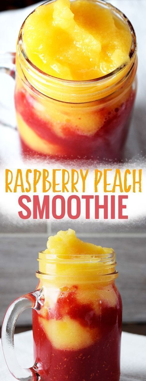 Raspberry Peach Smoothie - this easy smoothie recipe is vegan and made with frozen fruit. You can make it ahead of time as part of meal prep plan or you can just whip one up as an easy breakfast. This dairy-free smoothie is also a great healthy smoothie recipe for weight loss! #healthy #healthyeating #smoothies #healthyrecipes #vegan #easyrecipe