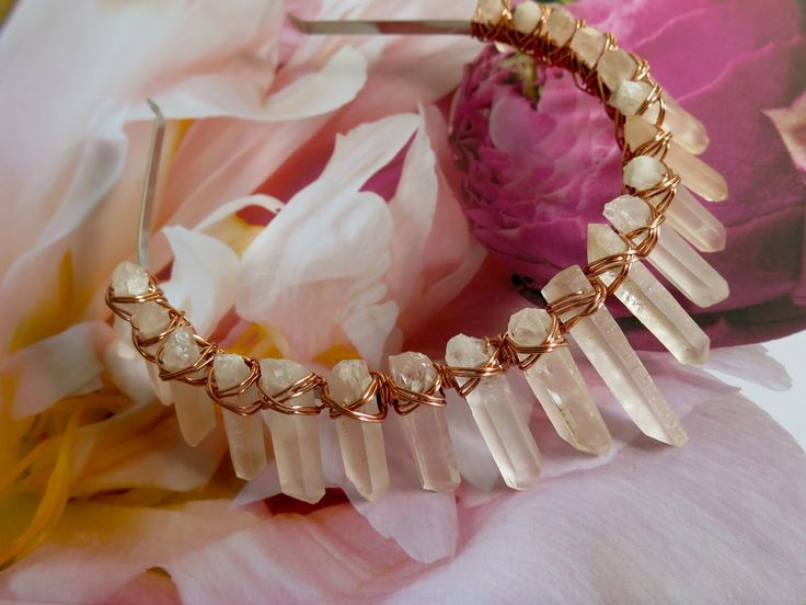 Pale peach hued raw Crystal Quartz Crown with copper wiring by Crowns&Wreaths