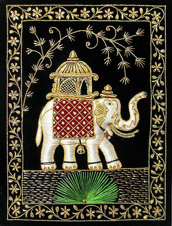 Multicolor Thread and Zari Embroidered Royal Elephant on Black Velvet Background (Cloth Embroidery - Unframed)