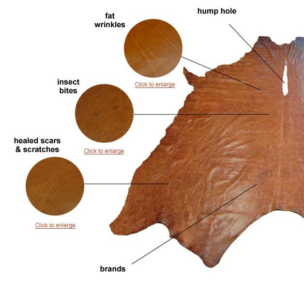 One of the best leather  buying guides on the Internet. Tanned Leather - Natural markings | Leather Hide Store