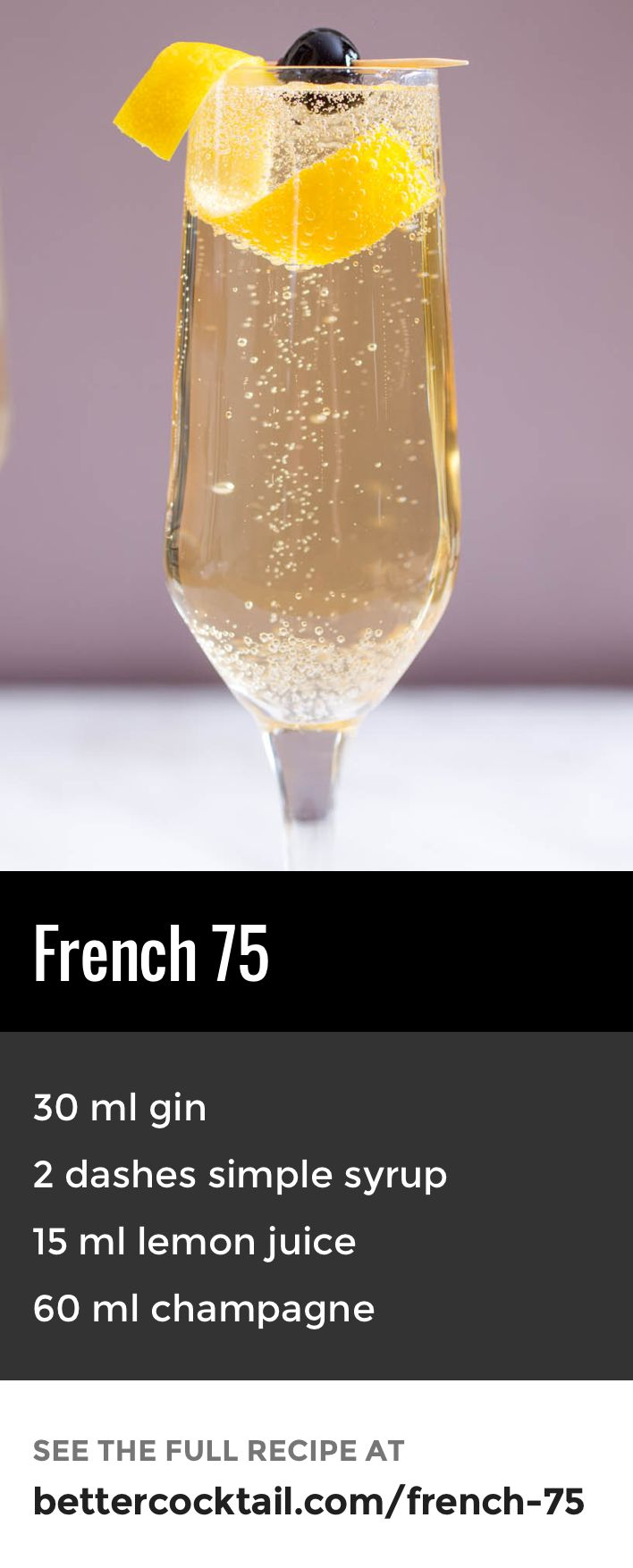 The French 75 cocktail, also known as the 75 cocktail, is a drink that dates back to the first World War. I was originally created at the New York Bar in Paris by Harry MacElhone. The drink gets its name from the kick given by the blend of gin and champagne, which is said to feel like being shelled with a French 75mm field gun. The drink is served in a champagne flute.
