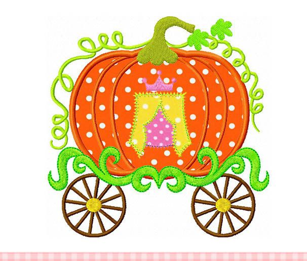 Princess Pumpkin Carriage TH0009,Thanksgiving pumpkin carriage digital applique -for 4x4 5x7 6x10 hoop Machine Embroidery Applique Design by CherryStitchDesign on Etsy