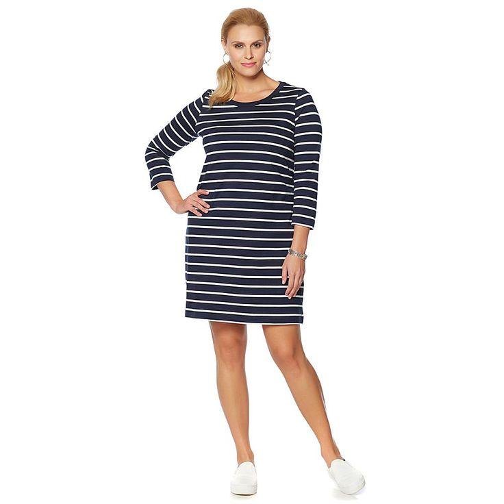 DG2 by Diane Gilman Striped T-Shirt Dress - Blue