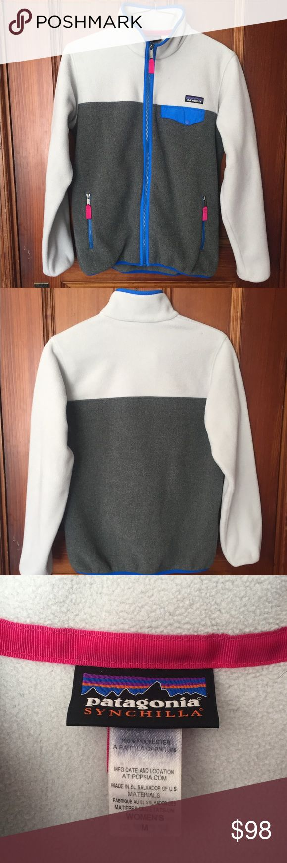 Women's Fleece Patagonia Super cozy full-zip fleece. No stains or signs of wear-very gently used. Colors are crisp and accurate. Fits like a normal or slightly large medium :) price is pretty firm but send an offer and I'll consider! Ask any questions :) Patagonia Jackets & Coats