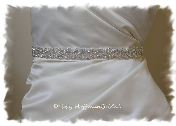 Bridal Sash, 22 Inch Rhinestone Wedding Dress Sash, Belt, Beaded Rhinestone Crystal Sash, No. 3010S-22, Wedding Accessories, Belts, Sashes on Etsy, $66.00