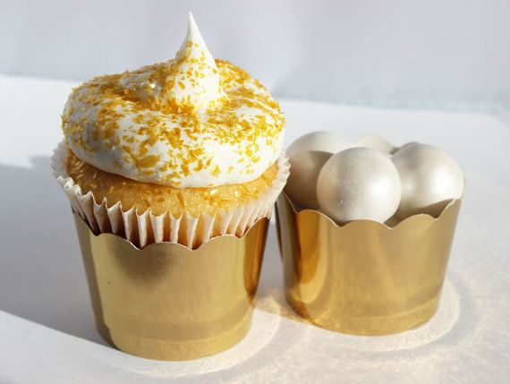 Gold Cupcake Wrapper Gold Cupcake Liners Gold by BakersBlingShop