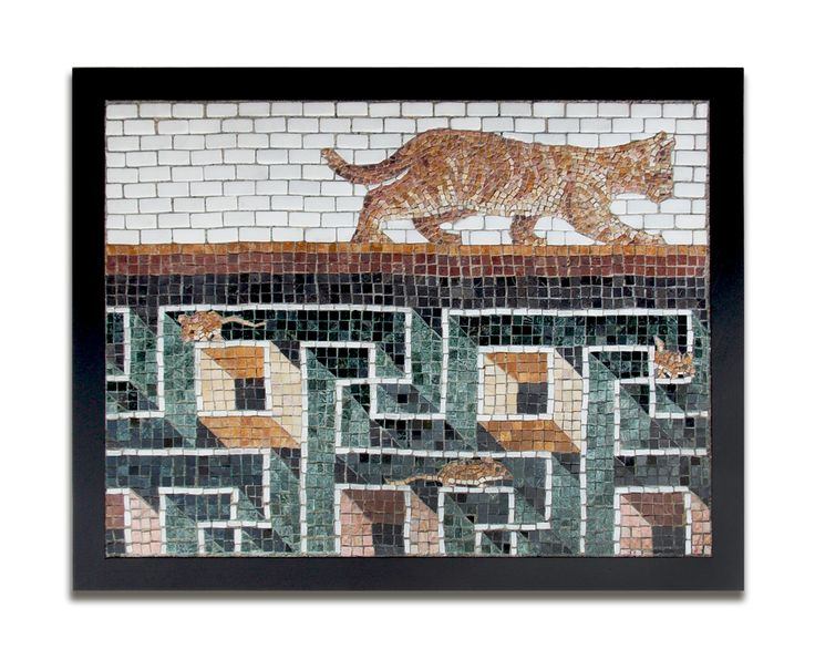 """NEW WORK 'Oblivious Cat' ('Recent finds from Ostia' series) 24"""" x 18"""" Marble 2013 POR http://restreet.altervista.org/jim-bachor-ripara-le-buche-delle-strade-con-i-mosaici/"""