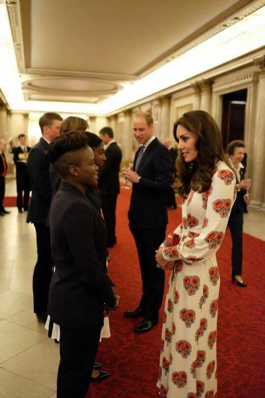 The Duchess of Cambridge chats with @TeamGB Olympic Champion @NicolaAdamsMBE at tonight's #GBHeroesLDN reception.