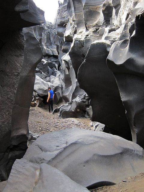 Canyon Walls / Deep layers of lava rock carved for thousands of years by the Big Wood river, central Idaho, USA.