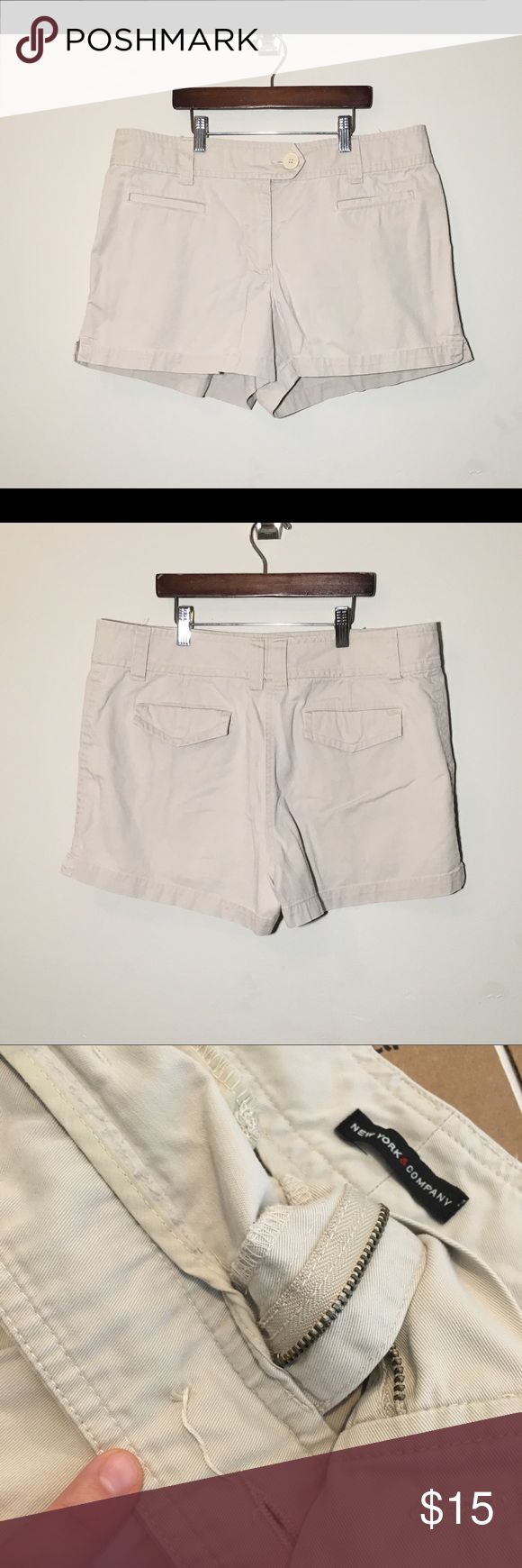[New York & Co.] woman's sz 14 khaki shorts Soft and very comfortable khaki shorts. Sz 14. Ready for your spring closet.   *missing front button. See pictures *  Offers welcome ☺️ New York & Company Shorts
