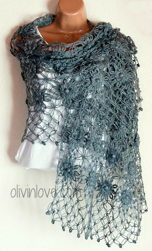 Grey shawl by OLIVINLOVE on Etsy