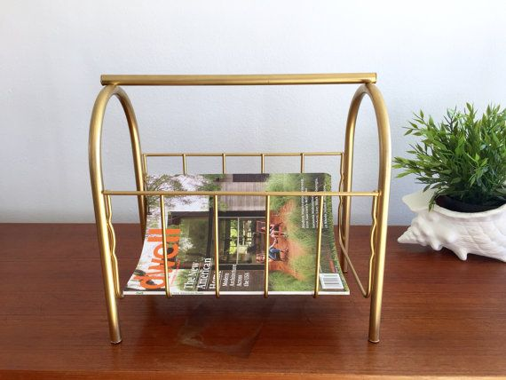 Brass Magazine Towel Rack / Mid Century Hollywood by ShopRachaels