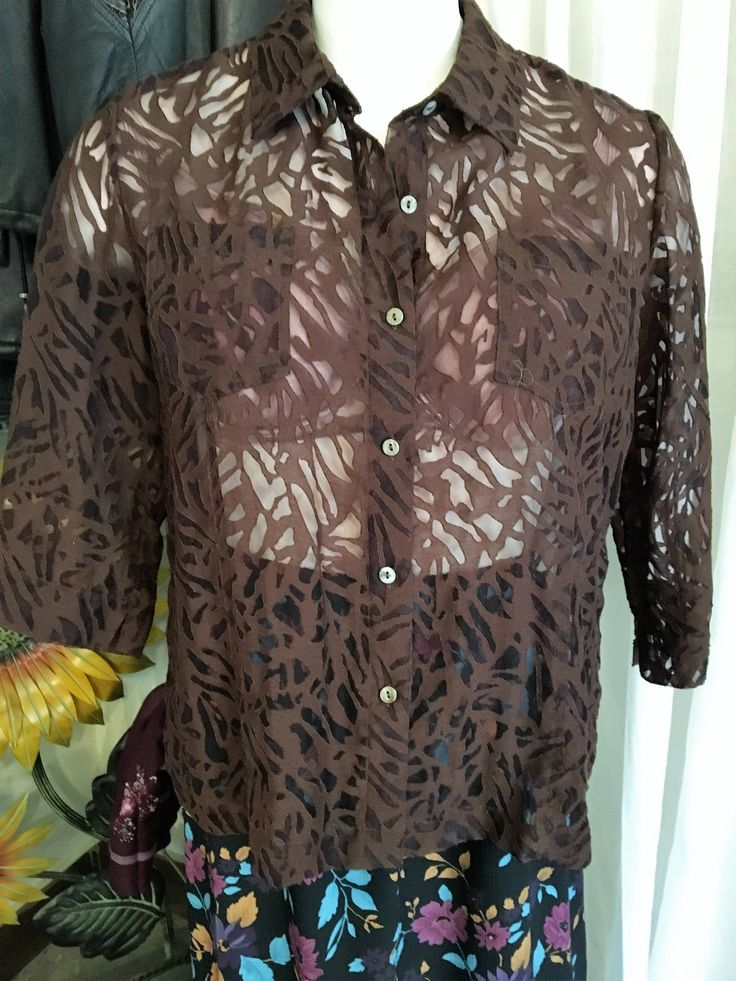 Vintage Brown Cover Up Shirt/White Stage/L-XL Size/ Free Shipping by SamsAtticTreasures on Etsy