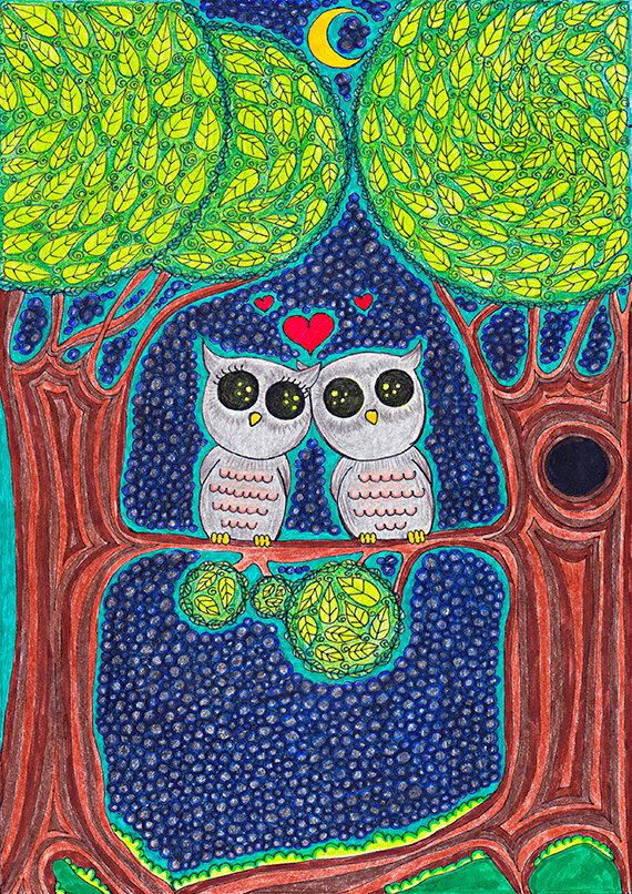 Original Childrens Drawing Lovely Owls door EnchantedCrayons