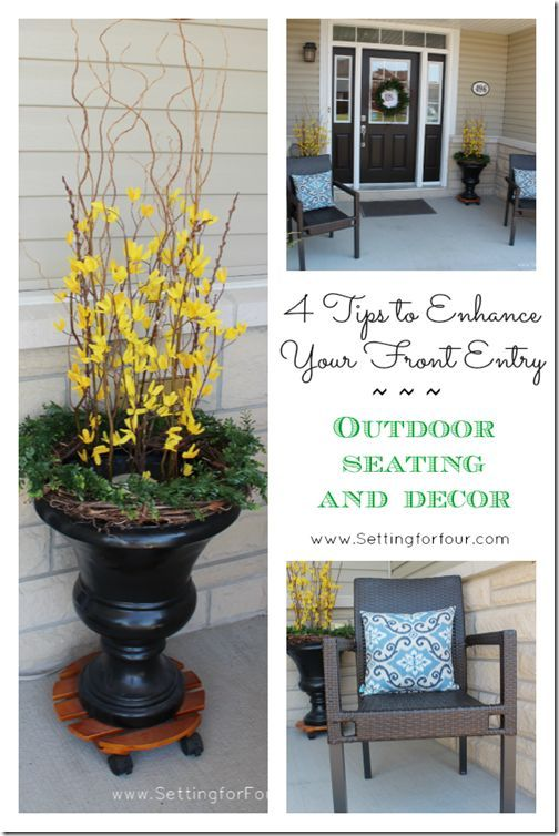 4 tips to decorate your front entry or porch and add curb appeal to your home! www.settingforfour.com