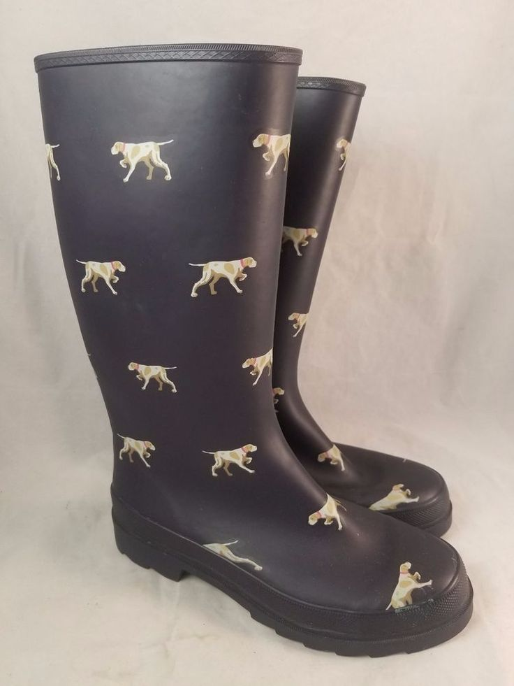 J CREW Navy Blue Wellies Rubber Rain Boots with Dogs Pointers Preppy Womens 8 #JCrew #Rainboots #Rain
