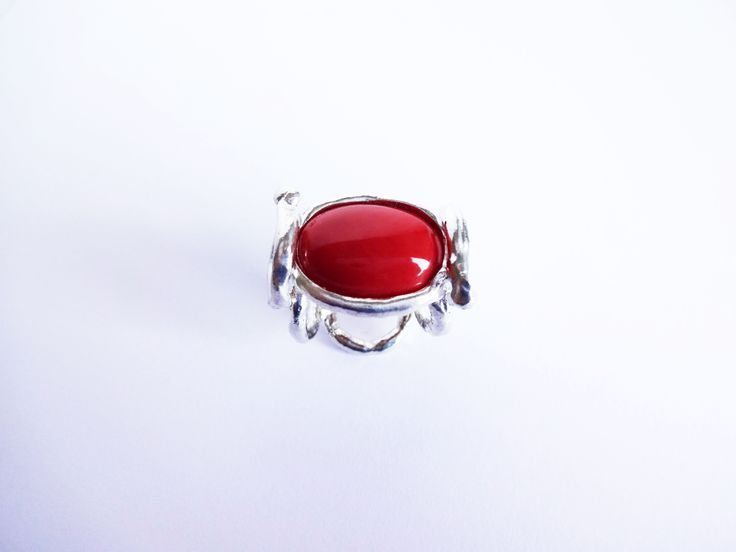 #ring made in #silver and #coral www.facebook.com/gioiellifenzl