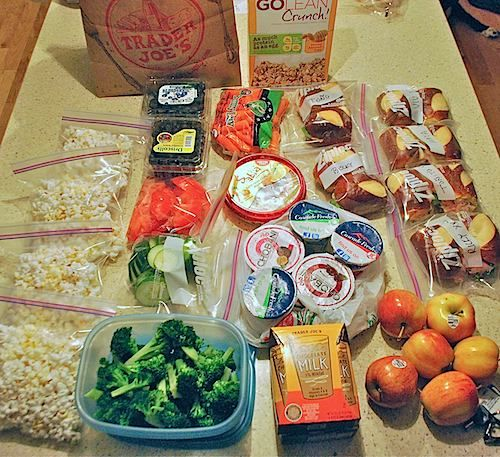Preparing for our road trip: making snacks and meals for food for the road. Have kids help so they get excited about the trip!:)