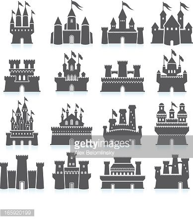 Vector Art : Medieval Castle and fortress royalty free vector icon set